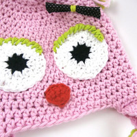 toddler girl hat, girl owl hat,  baby girl clothes,  pink, girl winter earflap hat