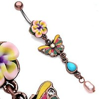 Antique Butterfly belly button ring
