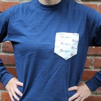 The Limited Edition Longshanks Unisex Long Sleeve Tee Shirt in Navy by the Frat Collection
