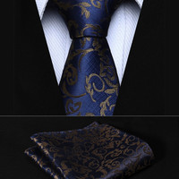 "TF2014B5S Navy Blue Floral 2.17"" Silk Woven Men Tie Necktie Handkerchief Set Party Wedding Classic Pocket Square Tie"