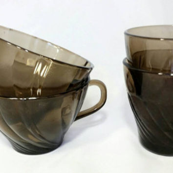 Vintage Duralex Vereco Tumblers and Teacups/Smoke Frosted Swirl Cups/Rivage Smokey Brown Glassware/Drinkware