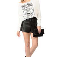 Black Faux Leather High Waist Country Shorts