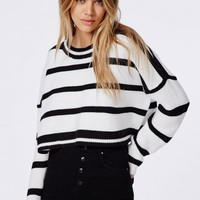 Missguided - Stripe Oversized Knitted Cropped Jumper White
