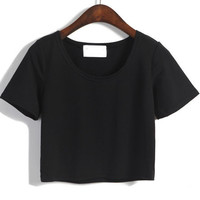 Black Round Neckline Short Sleeve Crop Top
