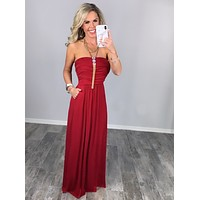 Your So Classic Pocket Maxi Dress - Dk Red
