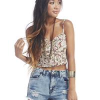 Ruffle Front Floral Bustier | Wet Seal