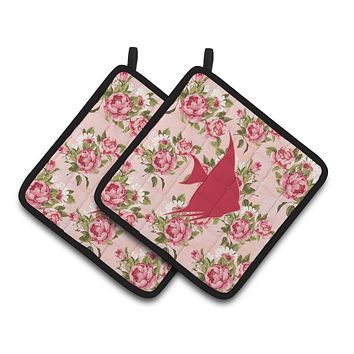 Fish - Angel Fish Shabby Chic Pink Roses  Pair of Pot Holders BB1022-RS-PK-PTHD