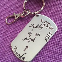 Miscarriage Jewelry - Miscarriage Keychain - Daddy of an angel - Memorial Keychain - Loss keepsake - Gift - Personalized Keychain