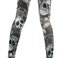 Gray Skulls and Jewelry Leggings Design 180