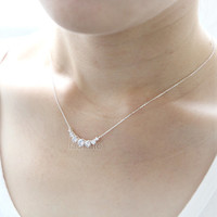 5 Crystals Necklace in 925 sterling silver / clear crystals, choose your color- gold, silver