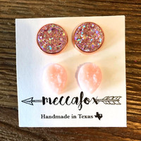 Mecca Fox 12MM Stud and Teardrop Earring Set- Sparkle Pink in Rose Gold Setting