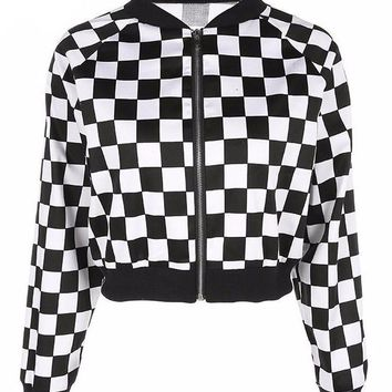 Checkerboard Black and White Bomber Jacket