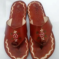 Leather Women Mexican Open toe Sandals brown