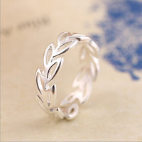 925 Sterling Silver Wedding Rings For Women Party Gift Fashion Sterling Silver Jewelry Simple Hollow Leaves Open Ring Anelli C3