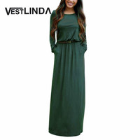 VESTLINDA Vintage Vestidos Longo Jurken  Maxi Dress Full Sleeve Casual Dress Autumn A Line Solid Ropa Mujer Long Dress