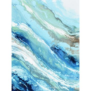 """""""Pacific Blue"""" ORIGINAL Art Blue White Turquoise Coastal Abstract Painting Marbled Vertical Wall Art 40x30"""""""