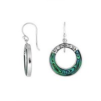 AE-1117-AB Sterling Silver Round Shape Earring With Ablone Shell