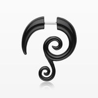 A Pair of Double Spiral Faux Hanging Taper Earring