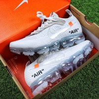 Best Online Sale OFF WHITE x Nike Custom Air VaporMax 2.0 OW Sport Running Shoes White Ice Blue Sneaker