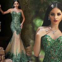 Fast Free Shipping Sexy Long Mermaid Prom Dresses With See Through Back  Appliques Tulle Evening Party Gowns