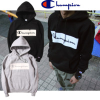 Champion thick cotton hoodies sweater Black grey