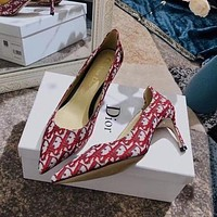 DIOR New Temperament Ladies Canvas Letter Sexy Heels