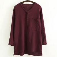 V-Neck Button Detail High Low Blouse