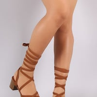 Strappy Open Toe Lace Up Block Heel
