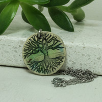 Tree Of Life Pendant Handmade pottery necklace