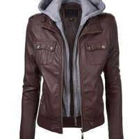 Lock and Love Women's Double Hoodie Faux Leather Jacket