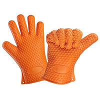 MALLCROWN Heat Resistant Silicone BBQ Gloves Oven and Grill for Cooking Baking Barbecue - 1 Pair