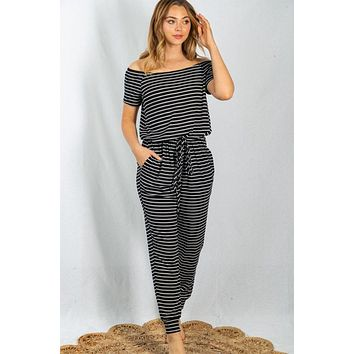 Off To The Islands Black Striped Off The Shoulder Jumpsuit