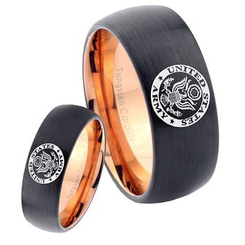 His Hers U.S. Army Dome Tungsten Rose Gold Mens Wedding Band Set