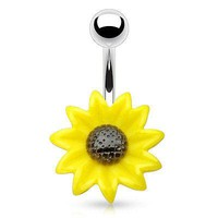 *FREE GIVE A WAY* Sun Flower Navel Ring Belly Ring 14ga Surgical Stainless Steel Body Jewelry