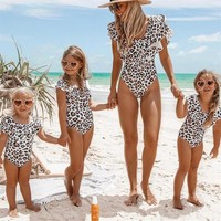 Mother And Daughter Ruffle Leopard Swimsuit 651