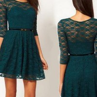 Sexy Lace Slim Sleeve Dress With Belt