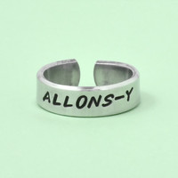 ALLONS-Y - Hand Stamped Aluminum Cuff Ring, Dr. Who inspired Word Ring, Doctor Who Fan Gift Ring