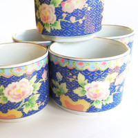 Cloisonne enamel Chinese green-tea cups teacups tea cups - Blue with gold rim and pink flowers