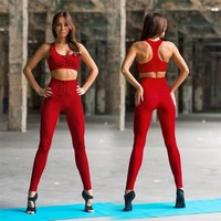 Red Black Women Yoga Set Fitness Sport Bra Crop Tops + Pants Leggings Tracksuits Gym Workout Elastic Breathable Sportswear