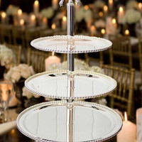 3 Layers Beads Plate Metal Party Home Fruit Plate Wedding Cake Stand Decoration