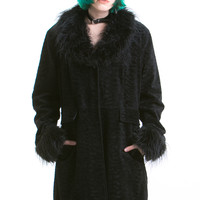 Vintage Shaggy Collar and Cuffs Faux Fur Coat - XS/S/M