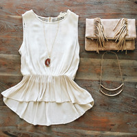 A Lace Back Tank in Cream
