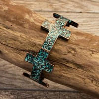 Rosalia Patina Cross Stretch Bracelet - Jewelry - Women's Accessories - Women's