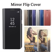 Electroplated Mirror Case For iphone 8 plus Case Leather Smart Clear View Flip Stand Cover For iphone X Case For iphone 8 Capa