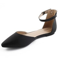 Women's Faux Suede Ballet Pointed Toe D'orsay Flats
