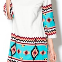Aztec print tribal dress in coral