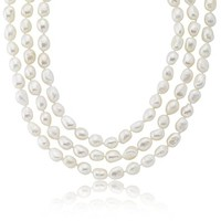 """Freshwater Cultured Baroque White Endless Pearl Necklace (9-10mm) 64"""""""