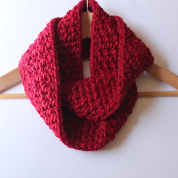 Red Infinity Scarf- Winter Circle Scarf- Crochet Chunky Cowl-  Fall wool Neckwarmer