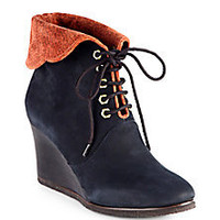 Chloé - Fold-Over Suede Lace-Up Wedge Ankle Boots - Saks Fifth Avenue Mobile