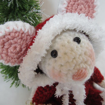 Crochet Christmas Mouse, Crochet Stuffed Mouse, Amigurumi Christmas Mouse, Toy Mouse -